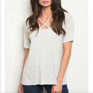 Light Grey T-shirt with Crisscross detail